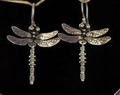 Dragonfly Earrings / smaller / sterling silver drop earrings