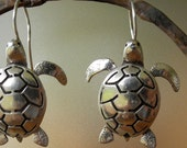 Sea Turtle Earrings - sterling silver