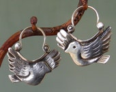 Dove Earrings - silver hoop earrings