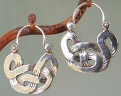 Celtic Knot Earrings - tribal - silver hoop earrings