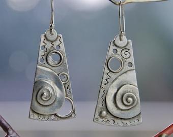 Cosmic Scroll drop Earrings - sterling silver