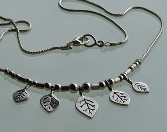 Vine Necklace - sterling silver leaf necklace (smaller leaf)