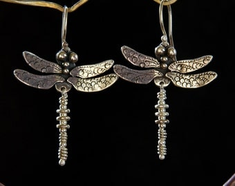 Dragonfly Earrings / smaller / sterling silver drop earrings