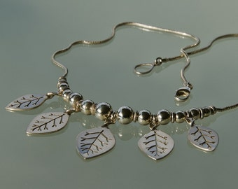 Sterling Leaf Necklace - larger