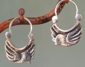 Tiny Dove Earrings - silver hoop earrings