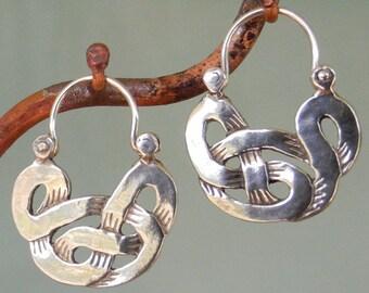 Celtic Knot Earrings - tribal - silver hoop earrings