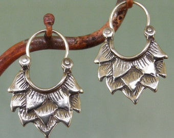 Lotus Earrings - very small - sterling silver - hoop earrings