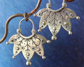 Jester Earrings - hoop style - sterling silver