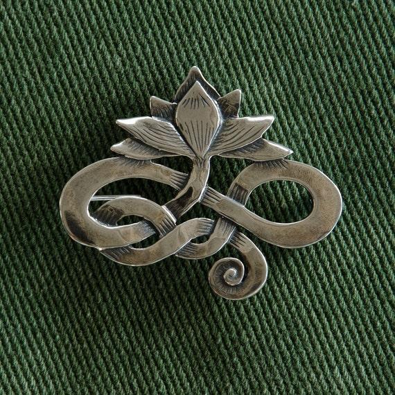 Lotus Pin/  Brooch - sterling silver