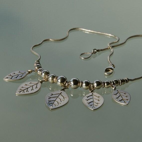 Sterling Leaf Necklace - larger