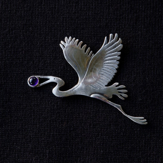 Sterling Silver Heron Pin with amethyst