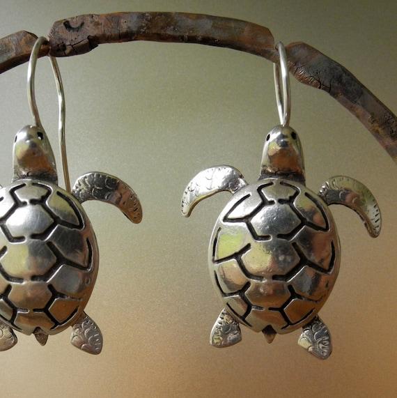 Sea Turtle Earrings - sterling silver