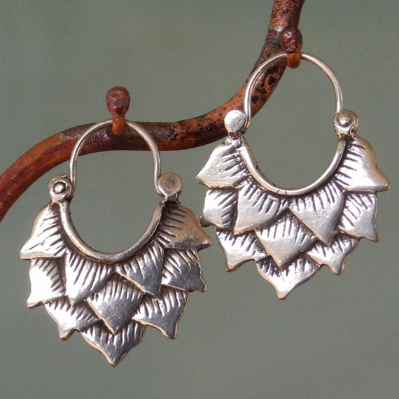 Lotus Earrings -silver hoop earrings