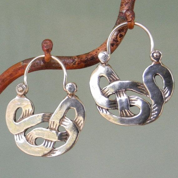 Celtic silver hoop earrings