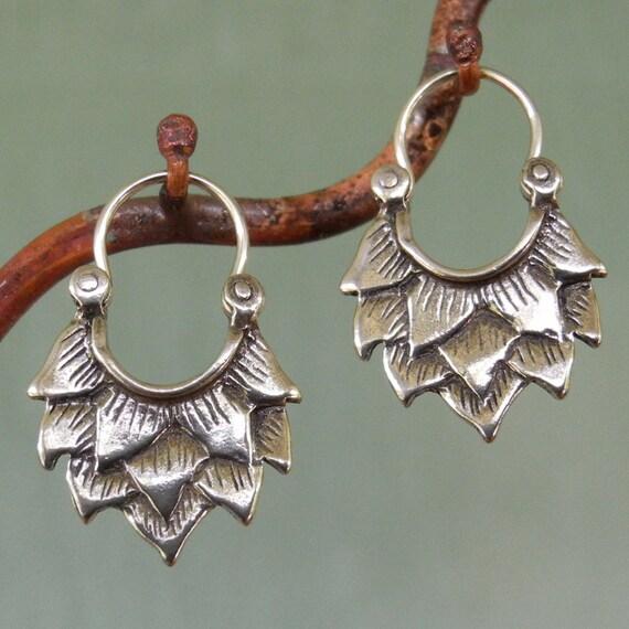 Lotus Earrings - very small - sterling silver - hoop earrings
