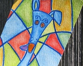 Greyhound original watercolor ACEO - blue/multicolor - silly old greyhound