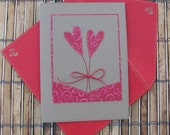 Anniversary/wedding card 2 hearts modern red kraft brown