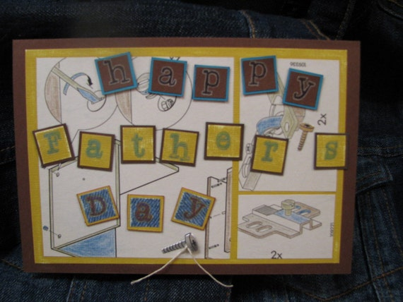 Father's Day card denim blue brown OOAK card with envelope