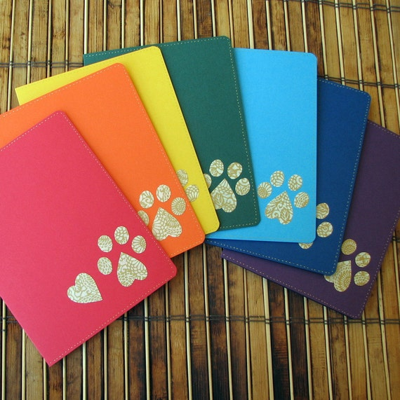 Pet lover stationery heart and paw print rainbow colors notecards with envelopes set of 7