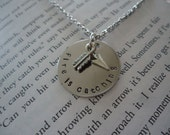 Catching Fire Inspired Geekery  -  Fire Is Catching Hand Stamped Silver Necklace With Arrow Charm