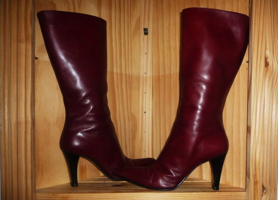 BOOT Camp Vintage 90's Burgundy Leather Pointed High Heel BOOTs Made in Italy by Via Spiga size 11 medium  56