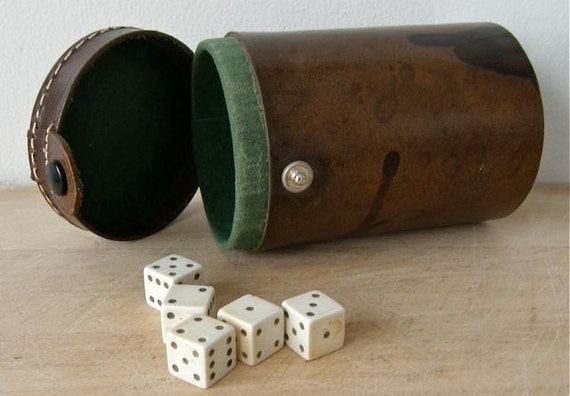 Vintage English Brown LEATHER DICE CUP and Five Dice Suede Lining