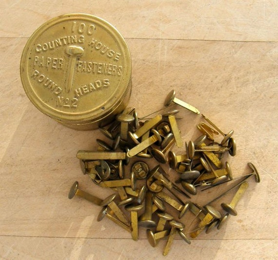 Vintage PAPER FASTENERS in BRASS Container Round Heads No 2