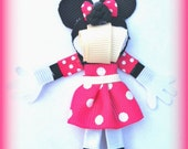 3D Minnie Mouse inspired Ribbon Character Hairclip (Pink)
