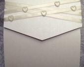 Ivory Satin Ribbon with Pearl Heart embellishments Pocket Fold Wedding invitation Card. Sets of 10