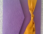 Embossed Purple Peacock feathers with bronze ribbon - Pocket fold Wedding Invitation