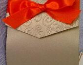 Elegant Embossed Autumn / Fall Gold and Orange Swirl Pocket Fold Wedding Invitation