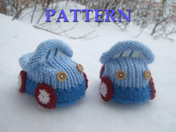 Knitted baby booties 'cars' (PDF pattern), (sizes 0-6/6-12 months)