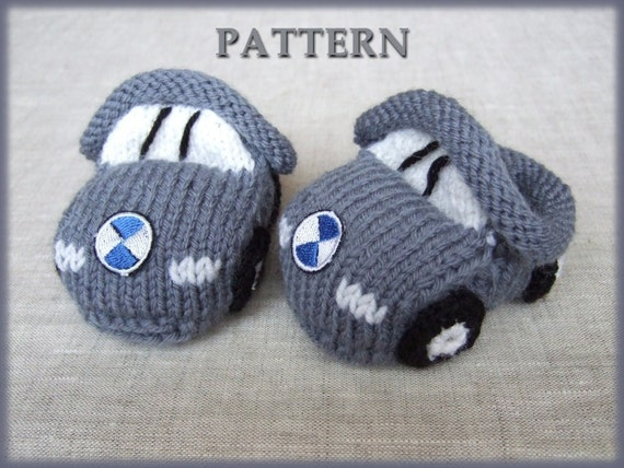 Knitted baby booties 'grey cars' (PDF pattern), (sizes 0-6/6-12 months)