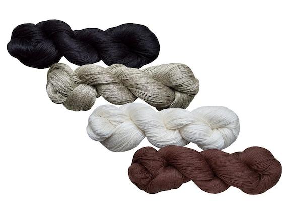Linen Yarn : High quality 100% LINEN yarn, 400gr (4 hanks x 100 gr)-Pure Linen Flax ...