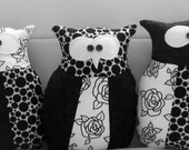 The artistic little owls collection,patchwork pillow or plush, handmade by SandyOwn
