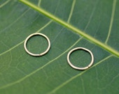 Nose Rings - Hoop Nose Piercings -  Cartilage - Tragus Piercing - Helix - ONE PAIR -14K Yellow Gold Filled  24-18 Gauge 7mm Inner Diameter