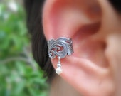 Sterling Silver Ear Cuff - Lace -  Pearl Ear Cuff - Non Pierced - Conch Cuff