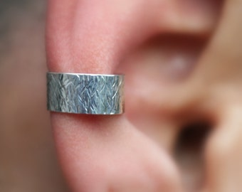 Sterling Silver Ear Cuff  - Textured 7mm Wide Ear Cuff - Non Pierced - Fake Conch Piercing - Conch Cuff