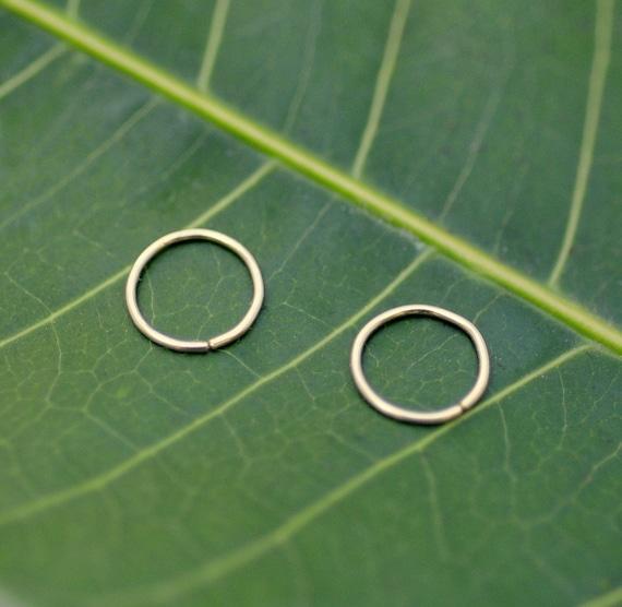 Nose Rings - Hoop Nose Piercings -  Cartilage - Tragus Piercing - Helix - ONE PAIR -14K Yellow Gold Filled  24-18 Gauge 7mm Inner Diameter