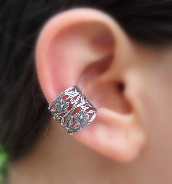 Sterling Silver Ear Cuff -  Flowers Ear Cuff - Fake Conch Piercing - Non Pierced - Conch Cuff