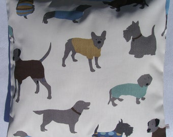 puppy pillow cover blue pillow cover doggy pillow cover scottie dog pillow cover