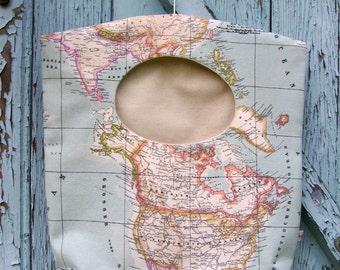 Clothes pin bag, laundry bag, gift idea, map laundry bag, peg bag, hostess gift, housewarming gift, eco friendly