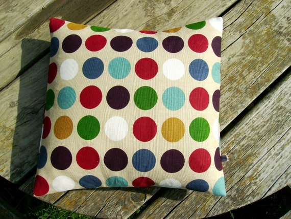 bright pillow cover - colorful pillow cover- spot pillow cover- rainbow pillow cover- dotty pillow cover