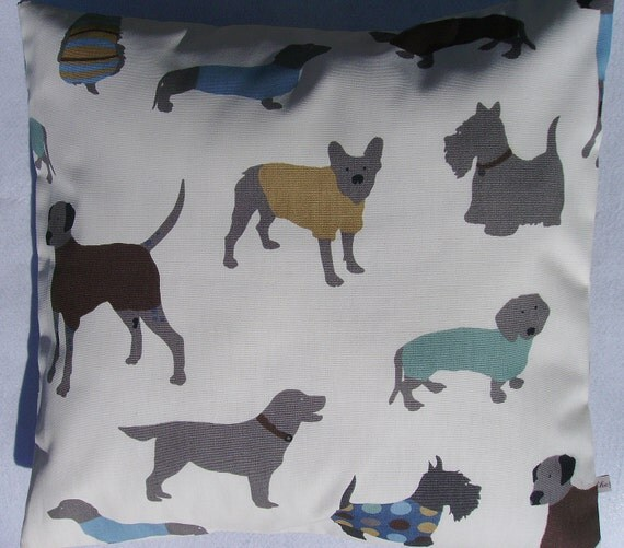 puppy pillow cover - blue pillow cover- dogs pillow cover - scottie dog pillow cover - dog pillow cover - pooch pillow cover