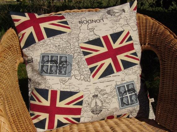 map pillow cover - London pillow - Union Jack pillow - UK flag pillow - UK pillow - England pillow - British pillow