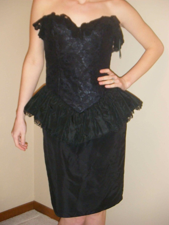 Gothic Corset Ruffles and Lace Victorian Edwardian Avant Garde Cocktail Dress