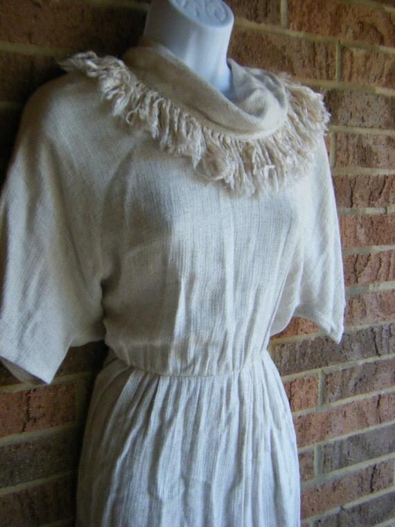 vintage 70's boho chic cowl neck fringe avant garde safari dress