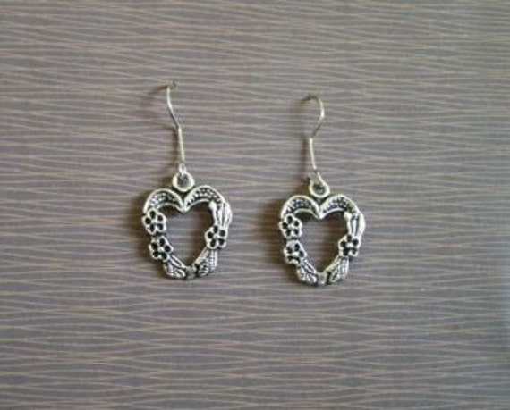 Heart Surrounded by Flowers Earrings (can be changed to clip-ons)