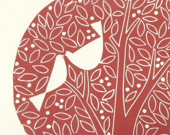 Love Birds Lino Print - LARGE Red Tree of Life Linocut - White Doves , Wedding Anniversary - Valentines Gift - Hand Pulled Original Print