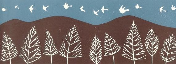 Linocut -Doves Birds in Flight -  Teal  Blue Sky Original Lino Block Print by Giuliana Lazzerini